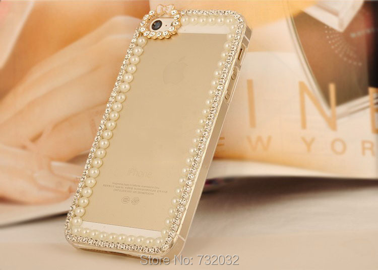 3D Bling Rhinestone Pearl Bow Chain phone Case Cover iPhone 4s 5s SE 5C 6 6s 7 Plus Samsung S7 S6 Edge S5 S4 mini Note 3 4 5  -  huhu's store store