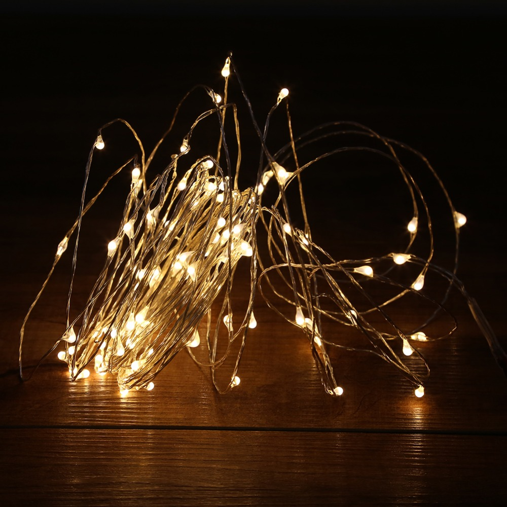 10M 100LED LED String Lights Outdoor Christmas Fairy Lights Warm White Silver Wire LED Starry Lights DC 12V Wedding Decoration(China (Mainland))