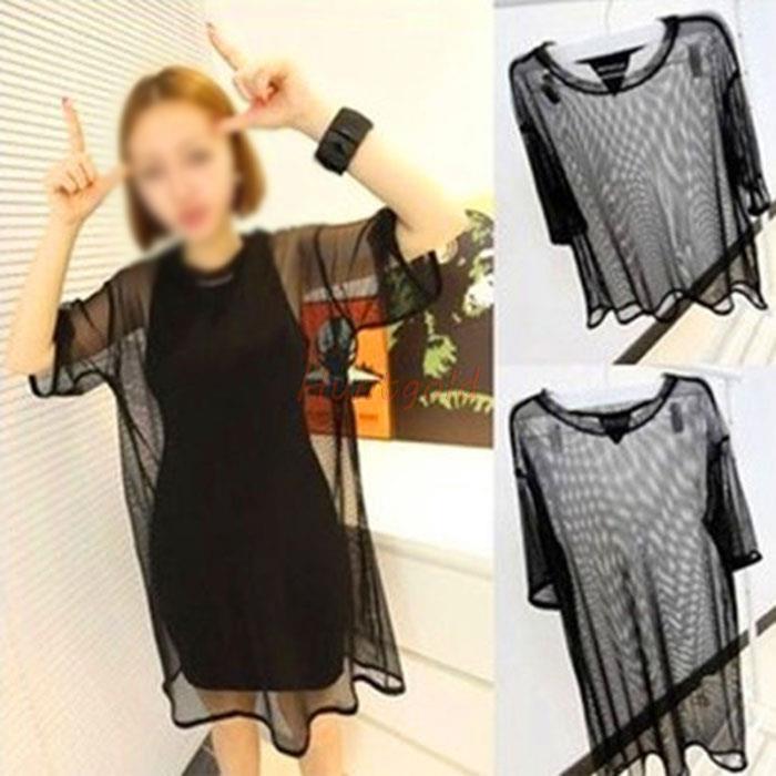 Леди женщины прозрачный шифон чистой сетка с коротким рукавом рубашки плюс топы блузка 2 тип