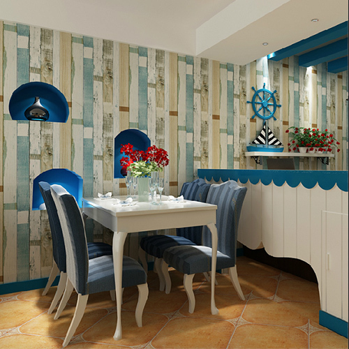 Europe and the United States blue imitation wood grain color wallpaper retro nostalgia board striped wallpaper murals boutique(China (Mainland))