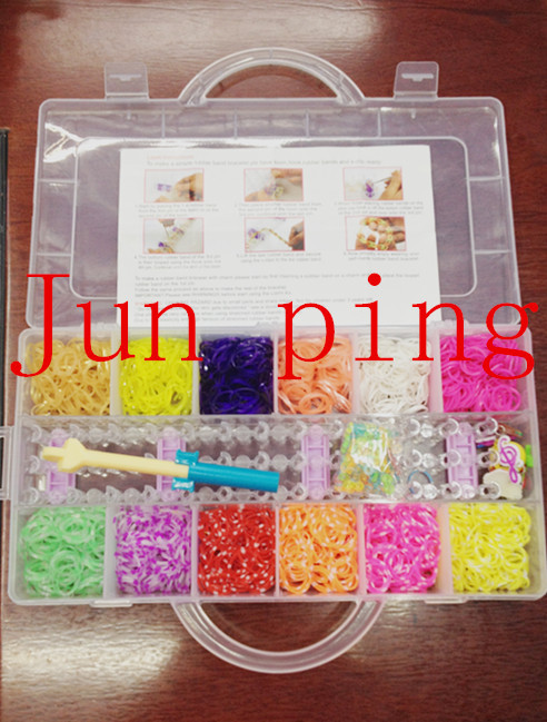 240Rubber Fun Loom Band Kit Kids DIY Bracelet Silicone Looms Bands color box Set Refills - junping rubber bands factory store