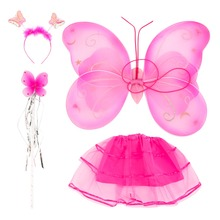 4pcs/set Kids Fairy Princess Butterfly Party Costume Wings Wand Headband Set Lovely Girl Toys Hot Selling(China (Mainland))