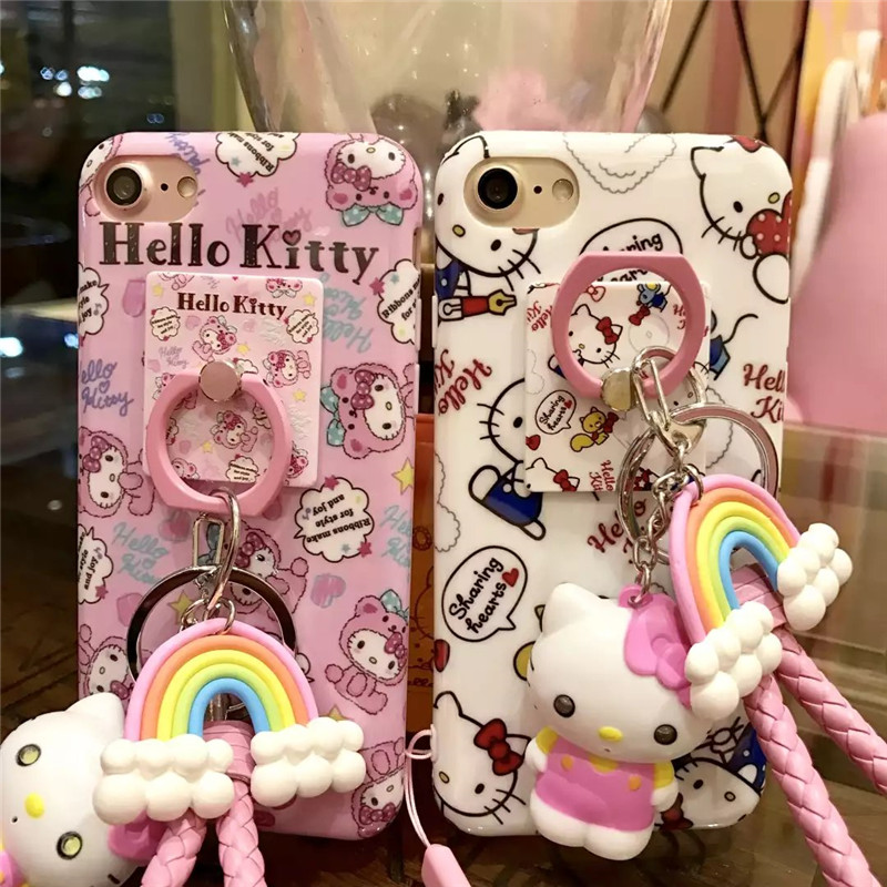 2017 New Cute Cartoon Hello kitty My Melody soft silicon tpu phone Case cover For iPhone 7 6 6s Plus with ring doll strap Cover(China (Mainland))