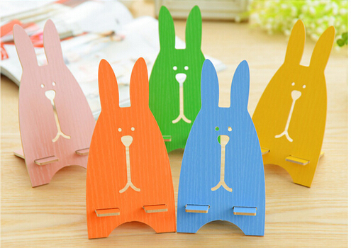 10pcs Fashion cell phone holder Usavich Cute Prison rabbit Wooden mobile phone cellphone stand Multiple colors For iphone HTC(China (Mainland))