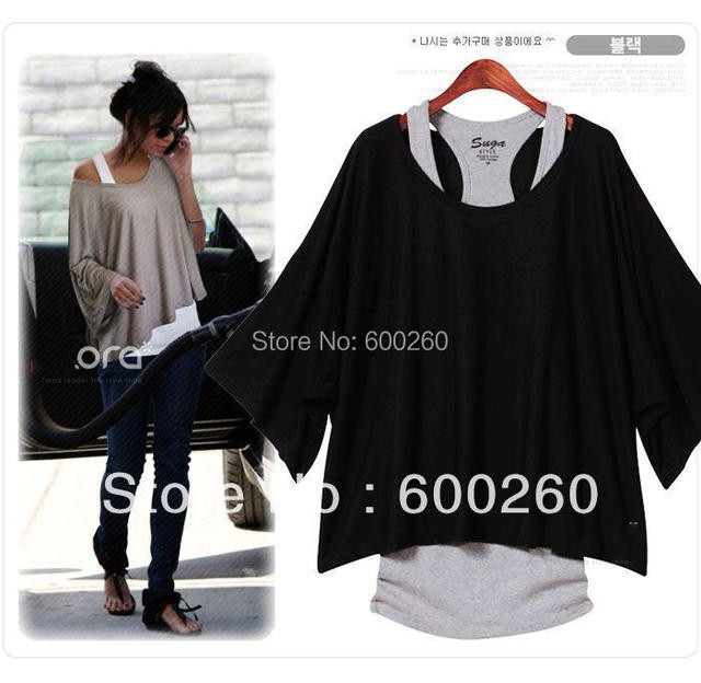 Fashion Women's Leisure Loose Bat Batwing Three Quarter  Sleeve Vest + Shirt 2Pcs Set 3 colors