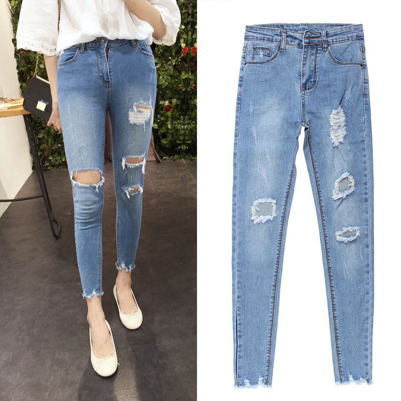 Buy 2016 New Fashion Summer Style Women Jeans Ripped Holes Harem Pants Jeans
