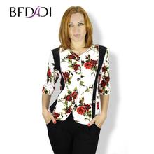 BFDADI 2016 модные женские блузки загара цветок печать со v-образным вырезом свободного покроя половина рукава тонкие рубашки женские топы Большой размер 5xl 0517(China (Mainland))