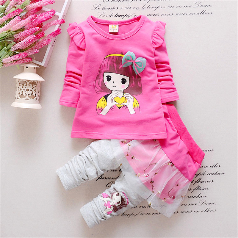 2016 Spring fashion baby girls clothing set cotton Beauty printed shirt +pantskirt suit set Children clothes 4 colors(China (Mainland))