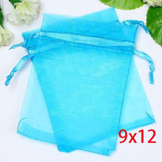100Pcs Aqua Blue Drawable Organza Wedding Gift Bags&Pouches 9x12cm Home Storage & Organization Storage Bags(China (Mainland))