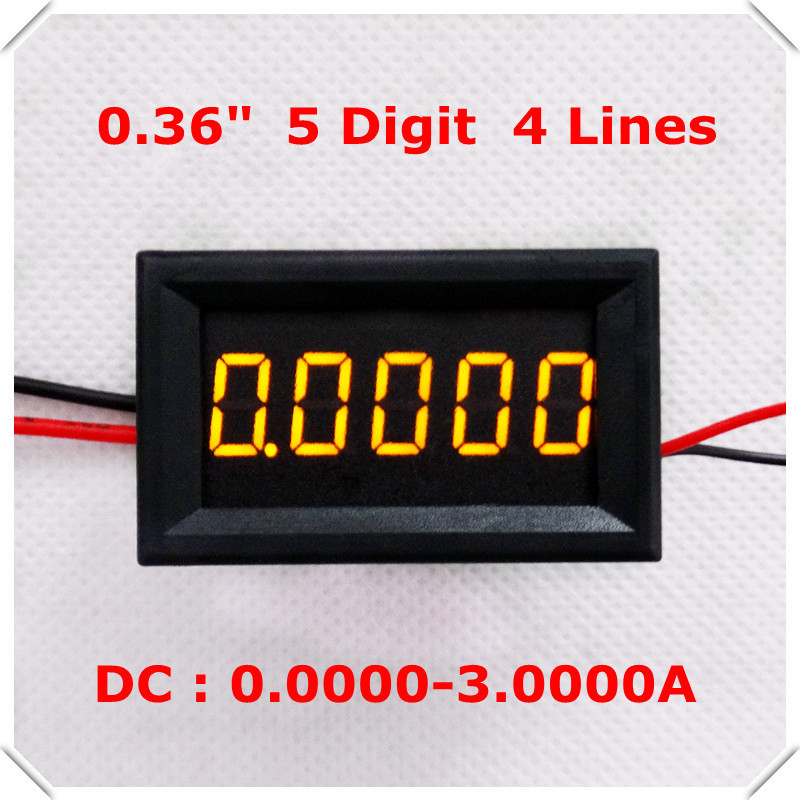 "RD DC0-3.0000A 5 digit 0.36"" Digital Ammeter Four wires Current Panel Meter led Display Color: Yellow [ 4 pieces / lot](China (Mainland))"