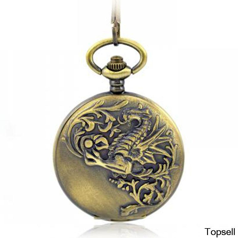 Chinese Dragon the classic pocket watch the antique vintage mechanical pocket watch for men and women gift pocket watch(China (Mainland))