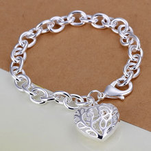 Bracelet Silver Plated Bracelet Silver Trendy Jewelry Bracelet Heart Jewelry Wholesale Free Shipping japa LH269(China (Mainland))