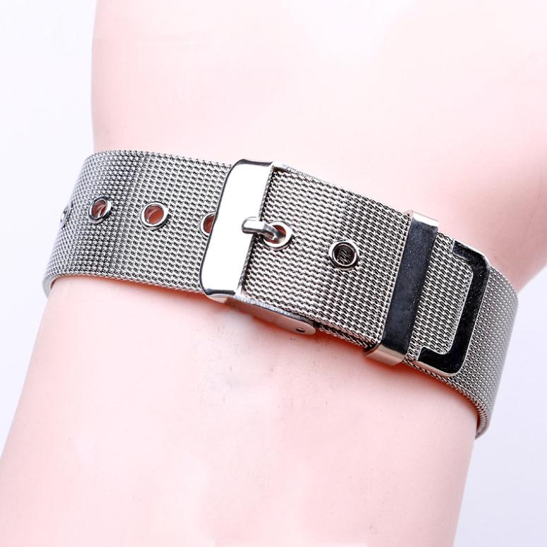 2015 Fashion New 18mm Unisex Thick Mesh Watches Straps Silver Watchbands Stainless steel Bracelet Watch Band Straight End(China (Mainland))