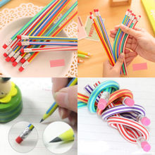 5PCS Colorful Magic Bendy Flexible Soft Pencil With Eraser For Kids Writing Gift K6173