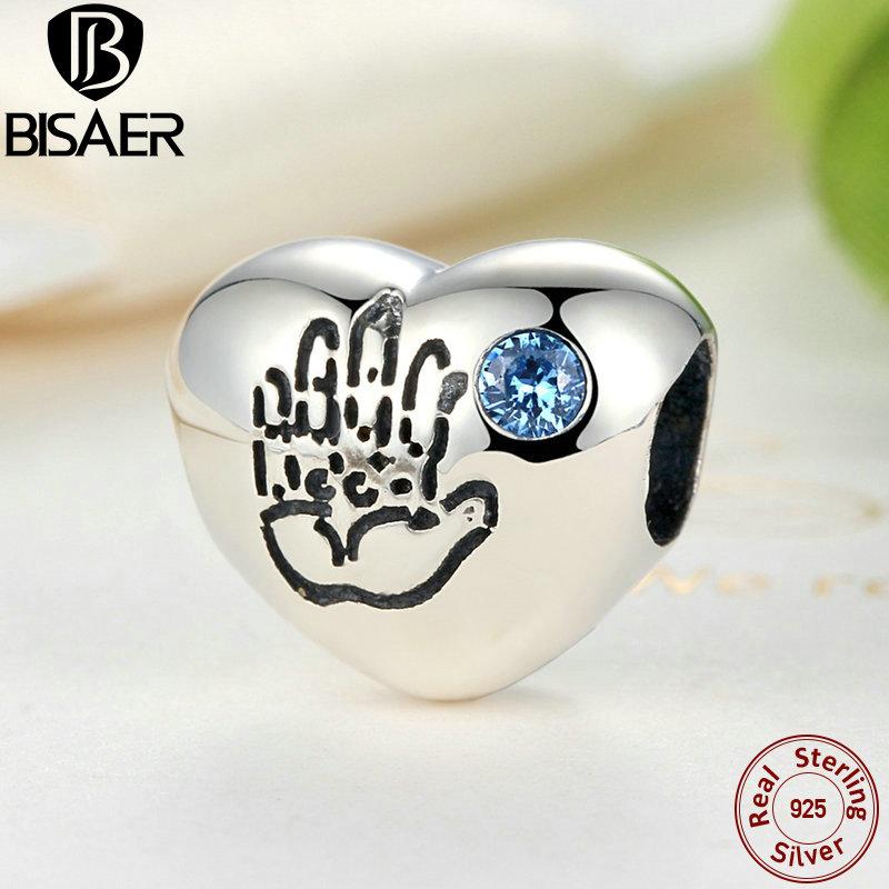 bisaer 925 sterling silver baby boy blue cz