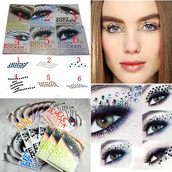 EYE MAKEUP 3D EYE TATTOOS Crystal Decoration Party Makeup Eye Shadow Sticker Eyeliner Tattoo 6 Types(China (Mainland))