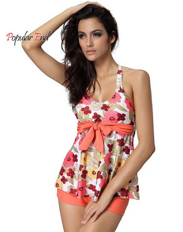 Sexy Floral Tankinis Set Women Halter Swimwear Top and Shorts Casual Beachwear 2 Piece Set 25(China (Mainland))