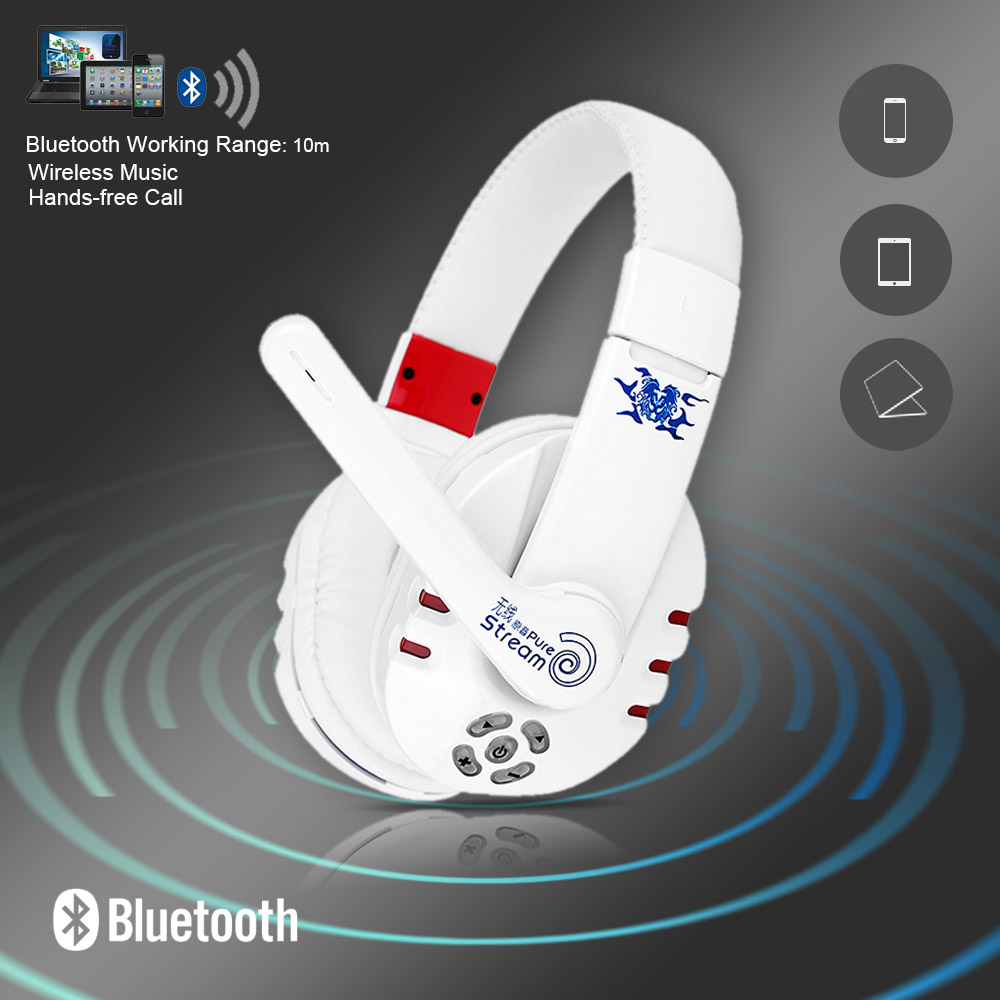 V8 Bluetooth Gaming Headphone BT 4.0 Stereo HiFi Wireless Headset 3.5mm Handsfree Earphones With Mic For iPhone Samsung PC