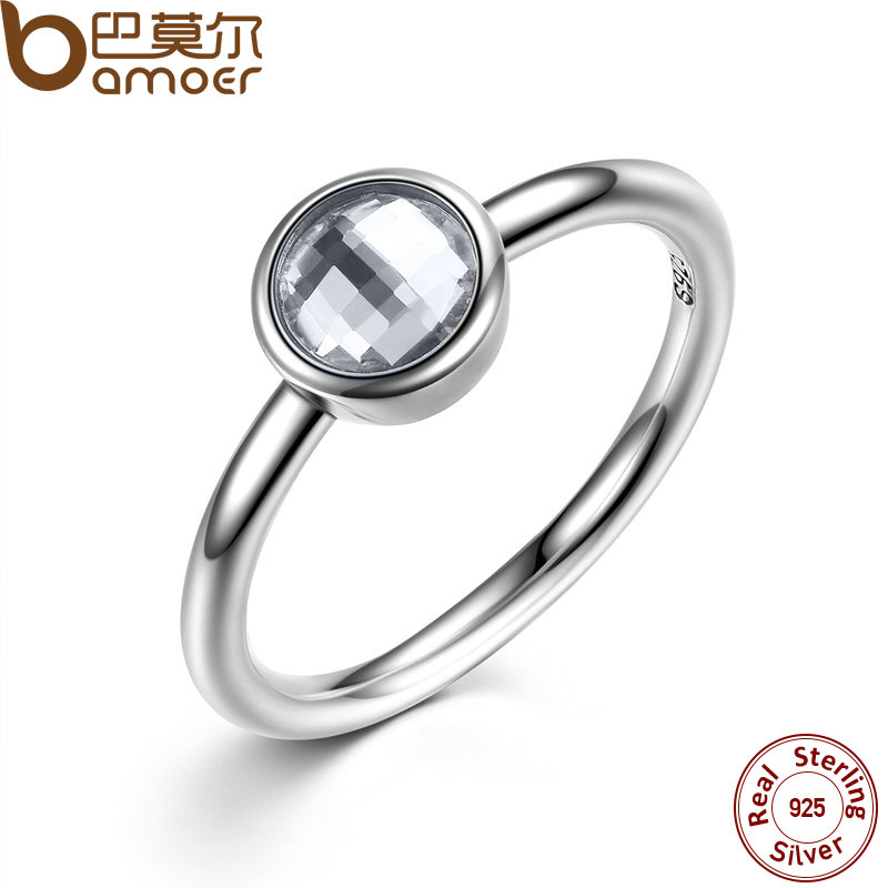 BAMOER Elegant Glass 925 Sterling Silver Rings Poetic Droplet, Purple CZ Finger Ring for Women Fashion Wedding Jewelry PA7186(China (Mainland))