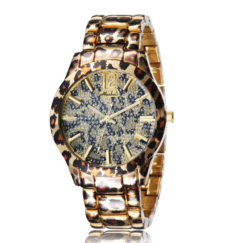 2015 Hot! Fashion Women Watches Leopard Print fashion Watch Full Artificial Diamond ladies Dress bracelet quartz Watches
