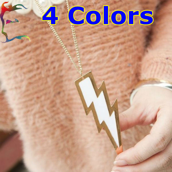 Wholesale fashion 4 Color lightning wave neckalce 24pc/Lot metal alloy casual charm hanging chain necklace jewelry Free shipping(China (Mainland))