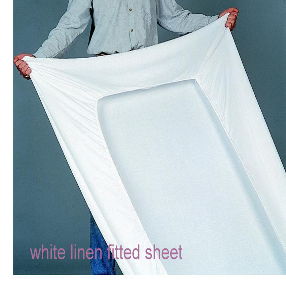 """100% White Pure Washed French Soft Queen Bed Linen Sheet Bed Cover Bedding fitted sheet Flax Sheets New 80""""x80""""x17""""(China (Mainland))"""