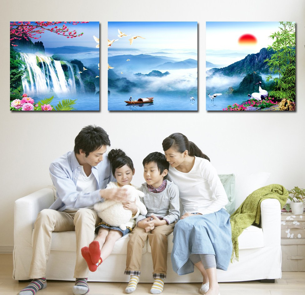 2016 Real Fallout Oil Painting Cuadros Free Shipping Chinese Still Life Landscape Wall Art 3 Panel Sets For Living Room Decor(China (Mainland))