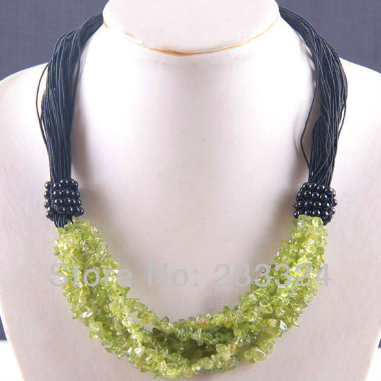 "Free Shipping New without tags 6X8MM Green Peridot Olivine Chip Beads Nylon Line Weave Necklace 20"" 1Pcs RE719(China (Mainland))"