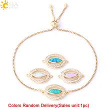CSJA זהב כסף צבע סגלגל קסמי קישור צמיד מבריק זירקון אופל שרשרת צמידי לנשים משתה מסיבת תכשיטים G081(China)