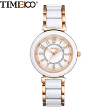 Time100 Laides Fashion Luxury Alloy Simulated Ceramic Strap Shell Dial Women Quartz Dress Casual Bracelet Watches W50149L.01A