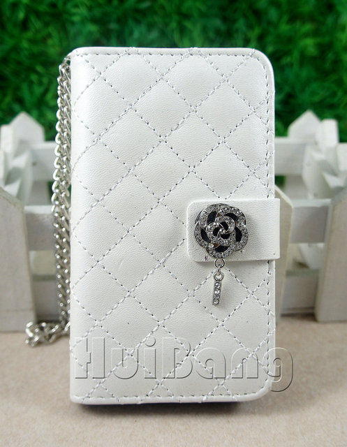 Luxury Bling Diamond Crystal Rose Magnetic Flip Mental Chain Leather Cases Cover For Samsung Galaxy S2 II i9100 Bag Handbag SC28