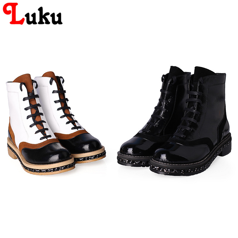 Фотография 2016 Free shipping OLD FASHION motorcycle boots with high quality Full Grain Leather round toe square heel genuine leather boot