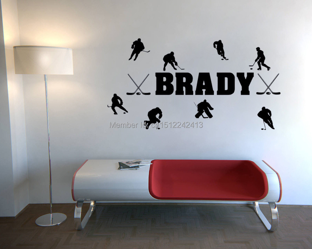 CaCar Personalized Name & Hockey Players wall decals vinyl stickers home decor living room wall pictures bedroom wallpaper(China (Mainland))