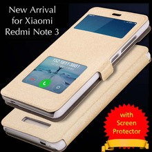 Luxury Case Leather Xiaomi Redmi Note 3 Leather Flip Cover Case 5.5' Smart Window Back Cover Full Protective Original Funda Para(China (Mainland))
