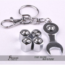New Hot Sale Car Wheel Tire Valve Caps with Mini Wrench & Keychain for Hyundai (4-Piece/Pack) With Retail Package(China (Mainland))