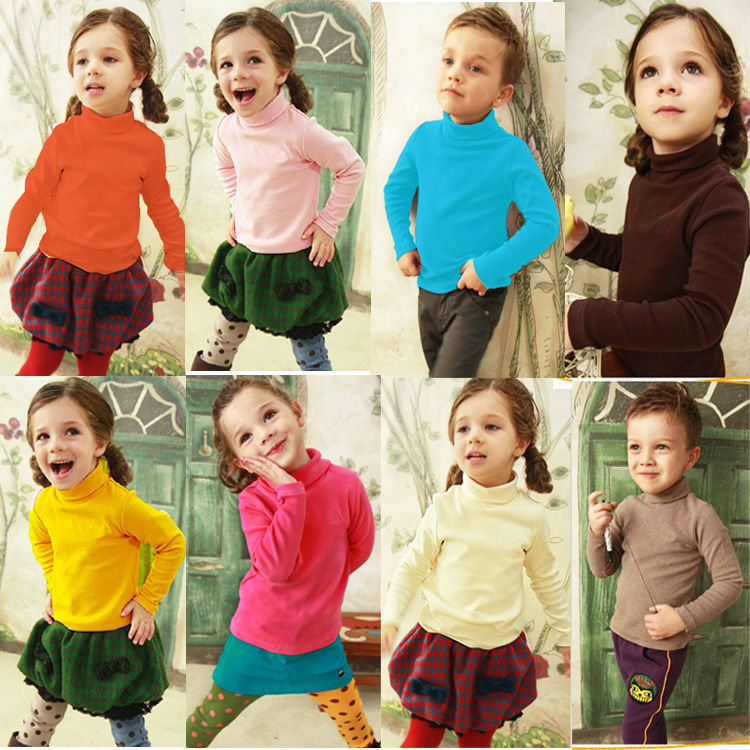 Children's Unisex Boy's Girl's Sweaters Basic Underwear for Winter Autumn Spring Colourful Boys Sweater Full Sleeve 3T - 10 Old(China (Mainland))