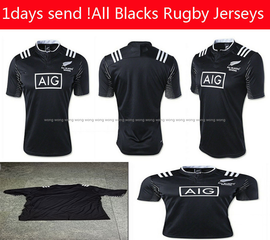 1days send ! 1516 Team New Zealand All Blacks Rugby Jerseys Best quality RMens All Blacks Rugby Rugby 7s Home Jersey shirts S-XL(China (Mainland))