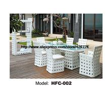 Modern White Rattan Table Chair Set 6 Piece Furniture Suite Outdoor Rattan Garden Beach Wicker Furniture Chair Table Set HFC002(China (Mainland))