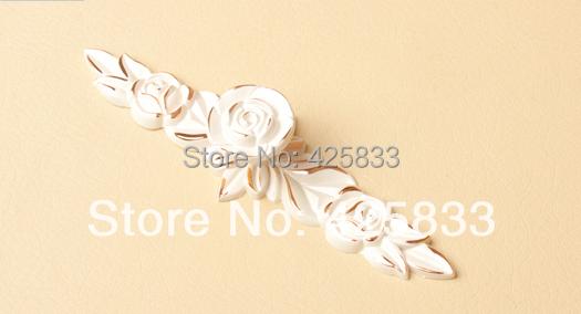 Ivory White Zinc Alloy Rose Gold Flower Drawer Handles Chest Furniture Hardware Dresser Handles(China (Mainland))
