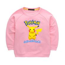 New Autumn And Winter Boys Girls Pokemon Go Pikachu Print Pattern O-neck Hoodies Kids Casual Sweatshirts Long T-shirts