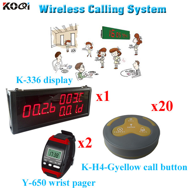 Modern Guest Call To Waiter/Waitress System Button With Pager And Display Monitor (1 display 2 wrist watch 20 call button)(China (Mainland))