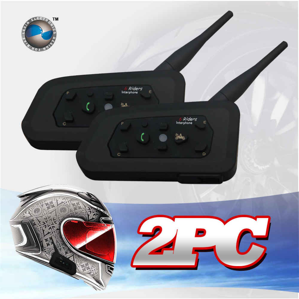 2PCS Free shipping 1200M Motorcycle Bluetooth Helmet Intercom for 6 riders BT Wireless Waterproof Interphone Headsets MP3(China (Mainland))