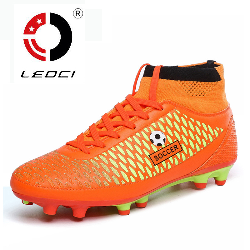 LEOCI Kids Boys Men High Ankle Football Boots FG Soccer Cleats Shoes Football Trainers Zapatos De Futbol Con Tobilleras(China (Mainland))