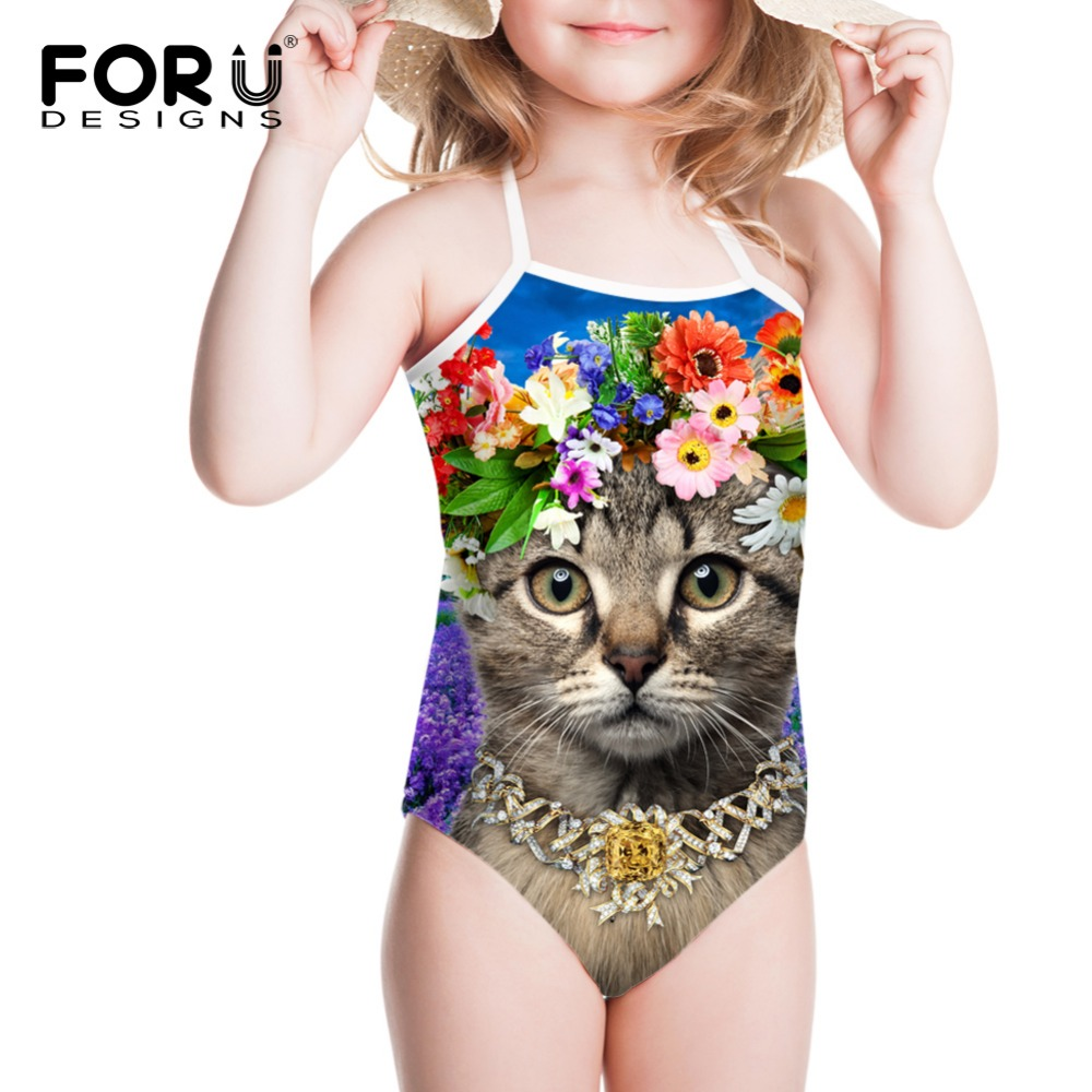 Flower Cat Girls Swimwear Stripped One Piece Swimsuit Girls Kids Bathing Toddler Girl Baby Swimsuits Cartoon children's Swimwear(China (Mainland))