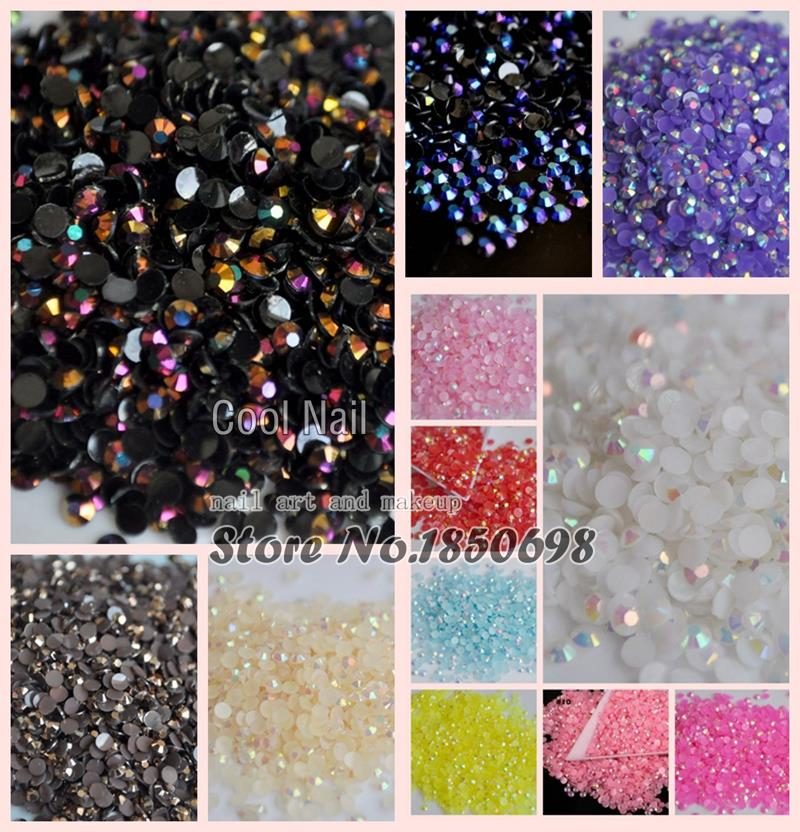 1000pcs 3D Nail Art Tips SS12 3mm Jelly AB Resin Crystal Flat back Rhinestone not hotfix nails use glue 14 Colors Choice(China (Mainland))
