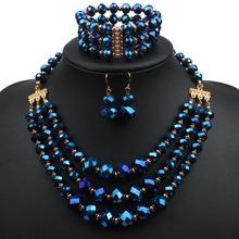 necklace bracelet earring set crystal jewelry set fashion women bead statement gold plate necklace jewelry set 6140(China (Mainland))