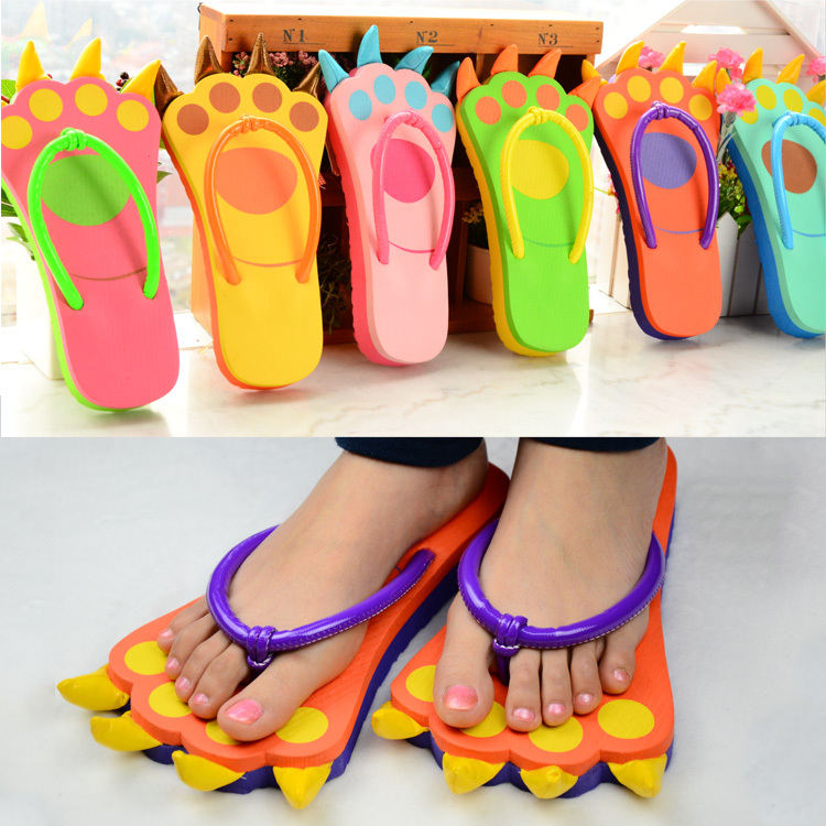 5pair/lot 2015 Hot Sale  fashion Cartoon bears paw slippers Ladys  Womens flip flops shoes KT03<br><br>Aliexpress