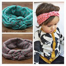 Da criança do bebê macio menina crianças cruzar Hairband Turban malha nó cabeça Headwear faixas de