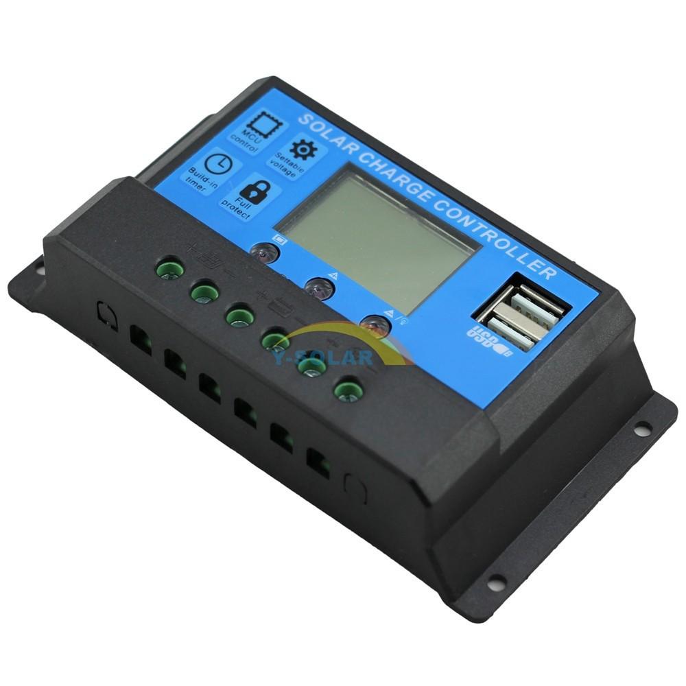 Pwm 10a Solar Charge Controller 12v 24v Dual Usb Solar