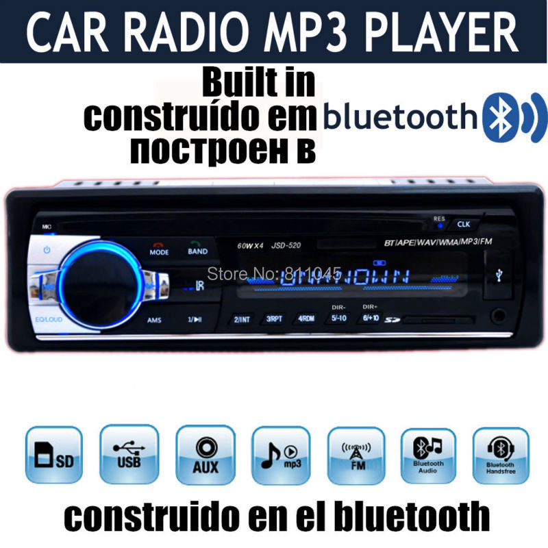 12V Car Stereo FM Radio MP3 Audio Player built in Bluetooth Phone with USB SD MMC Port Car Electronic In-Dash 1 DIN bluetooth(China (Mainland))